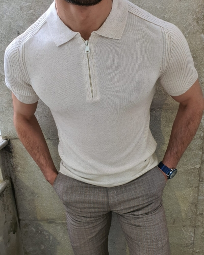White Slim Fit Collar Neck Zipper Knitwear T-Shirt by GentWith.com with Free Worldwide Shipping