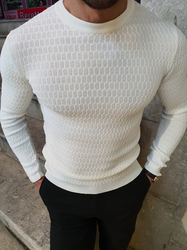 White Slim Fit Crew Neck Sweater by GentWith.com with Free Worldwide Shipping