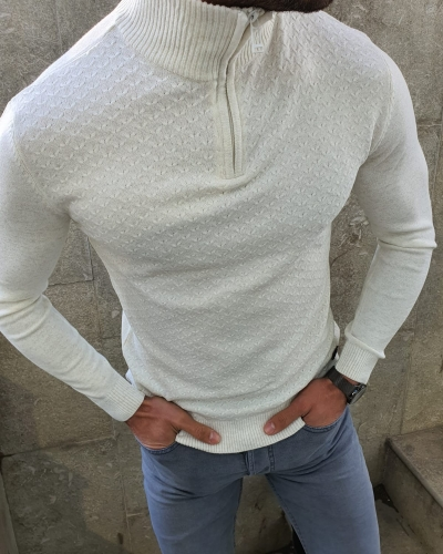 White Slim Fit Zipper Mock Turtleneck Sweater by GentWith.com with Free Worldwide Shipping