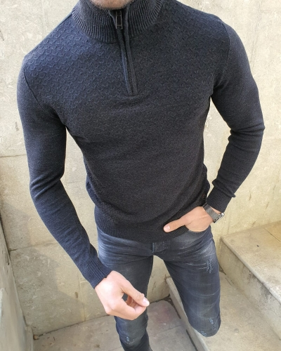 Black Slim Fit Zipper Mock Turtleneck Sweater by GentWith.com with Free Worldwide Shipping