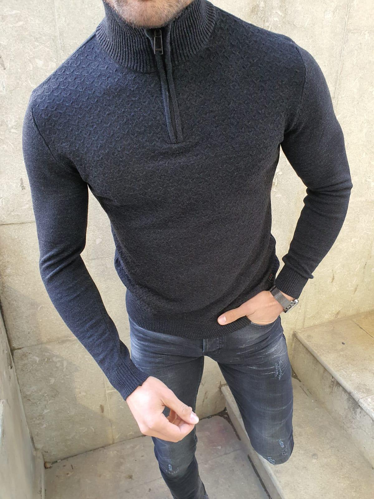 Fieer Mens Turtleneck Long-Sleeve Zipper Casual Fall Winter Sweaters