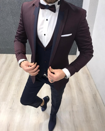 Burgundy Slim Fit Peak Lapel Tuxedo by GentWith.com with Free Worldwide Shipping