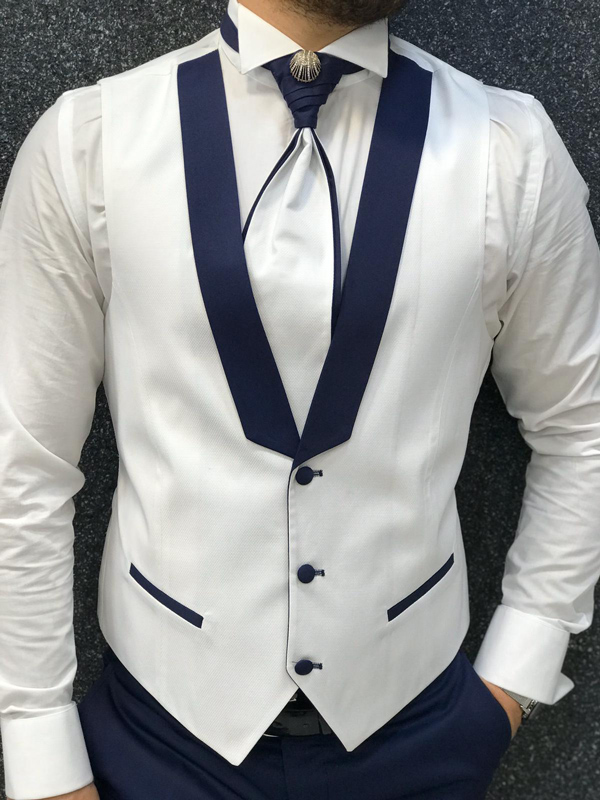White Slim Fit Peak Lapel Groom Suit by GentWith.com with Free Worldwide Shipping