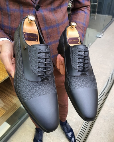 Black Leather Laced Oxford by GentWith.com with Free Worldwide Shipping