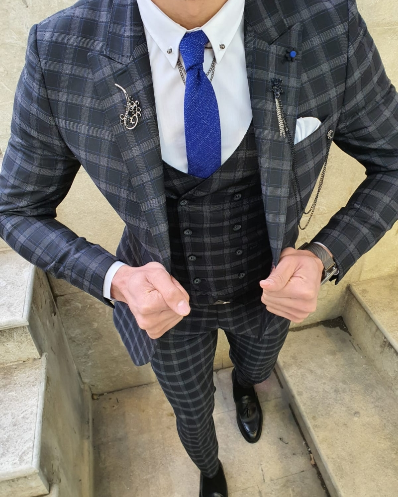 Black Slim Fit Plaid Check Suit by GentWith.com with Free Worldwide Shipping