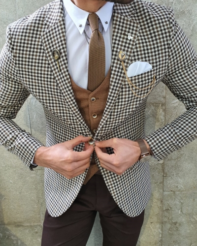 Brown Slim Fit Birds Eye Suit by GentWith.com with Free Worldwide Shipping