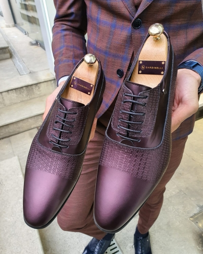 Burgundy Leather Laced Oxford by GentWith.com with Free Worldwide Shipping