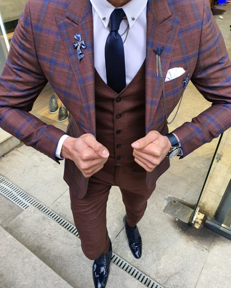 Camel Slim Fit Plaid Patterned Suit by GentWith.com with Free Worldwide Shipping