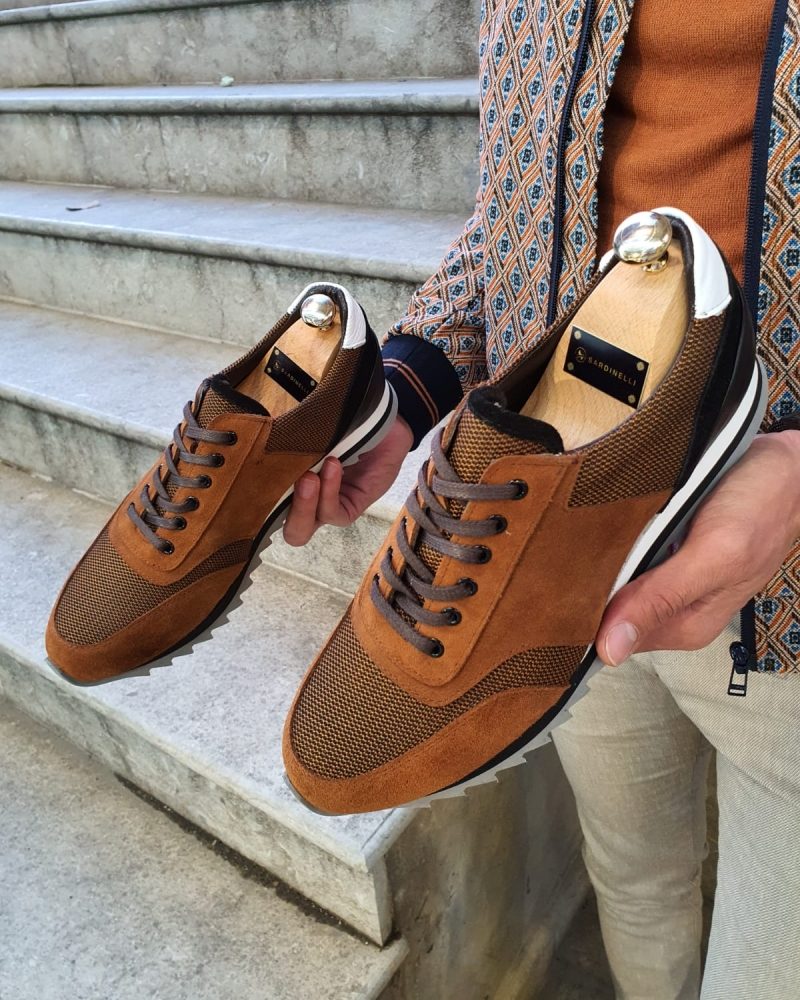 Cinnamon Lace-Up Suede Sneakers by GentWith.com with Free Worldwide Shipping