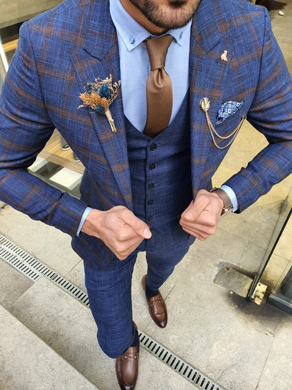 Indigo Slim Fit Plaid Patterned Suit by GentWith.com with Free Worldwide Shipping
