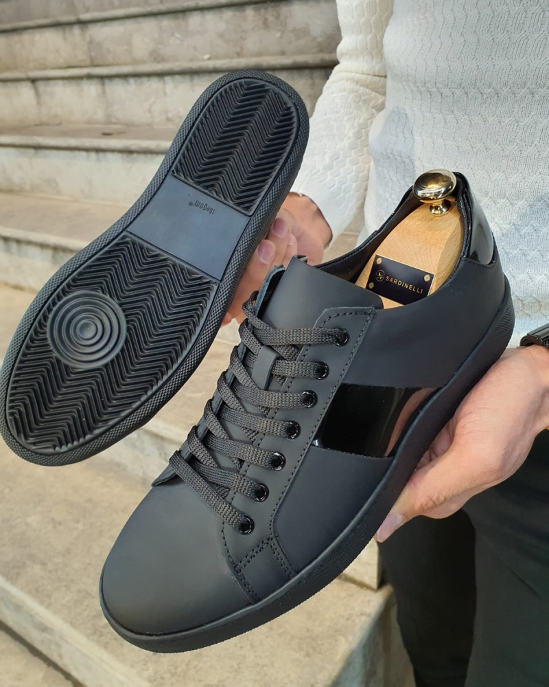 Matte Black Lace-Up Sneakers by GentWith.com with Free Worldwide Shipping
