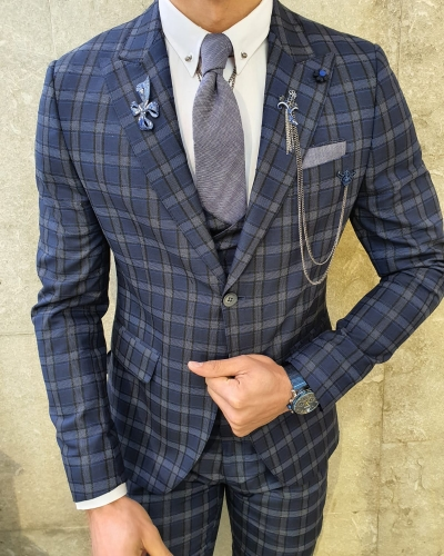 Navy Blue Slim Fit Plaid Check Suit by GentWith.com with Free Worldwide Shipping