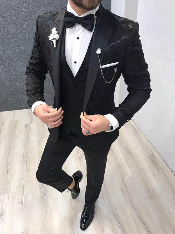 Black Slim Fit Tuxedo by GentWith.com with Free Worldwide Shipping