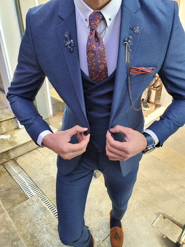 Indigo Slim Fit Patterned Suit by GentWith.com with Free Worldwide Shipping