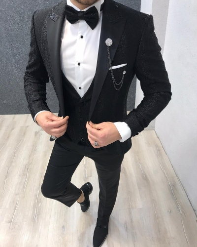 Black Slim Fit Patterned Peak Lapel Tuxedo by GentWith.com with Free Worldwide Shipping