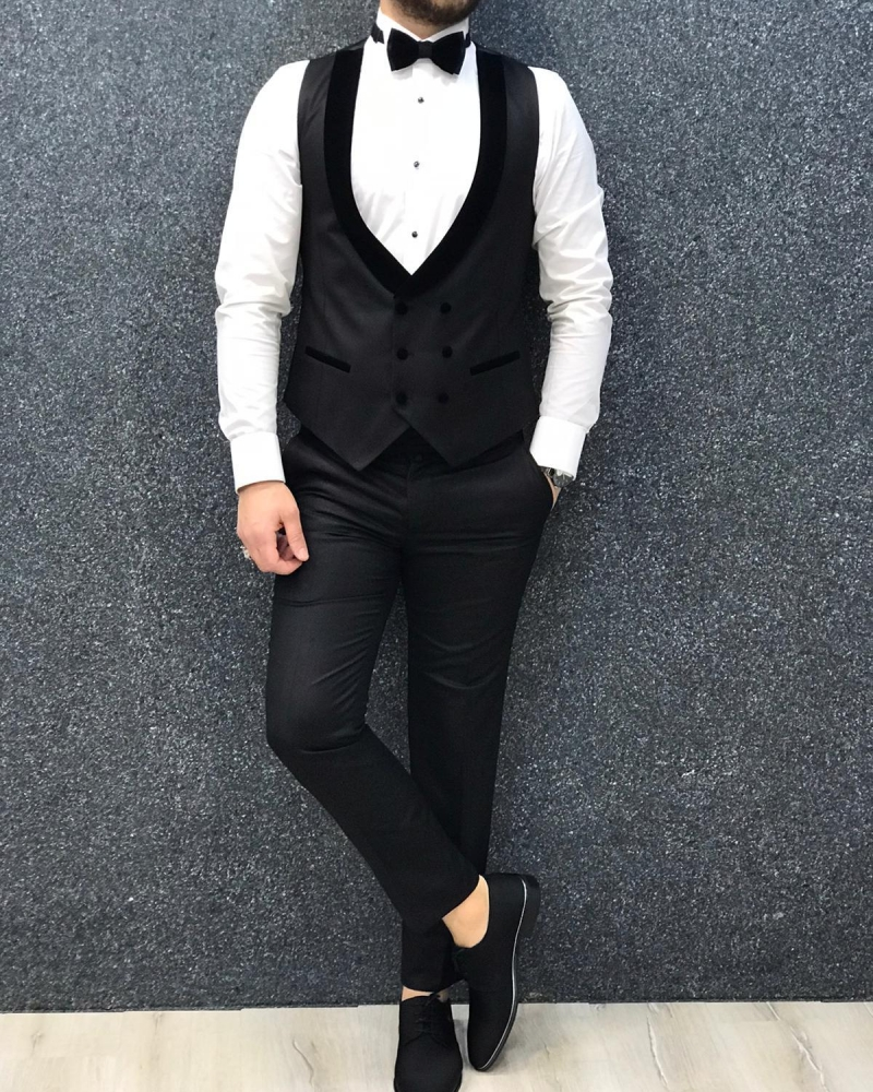 Black Slim Fit Velvet Shawl Lapel Tuxedo by GentWith.com with Free Worldwide Shipping