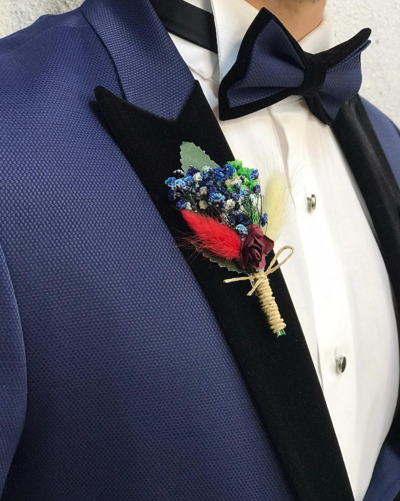 Blue Velvet Peak Lapel Tuxedo by GentWith.com with Free Worldwide Shipping