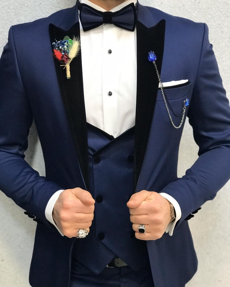 Blue Slim Fit Velvet Peak Lapel Tuxedo by GentWith.com with Free Worldwide Shipping