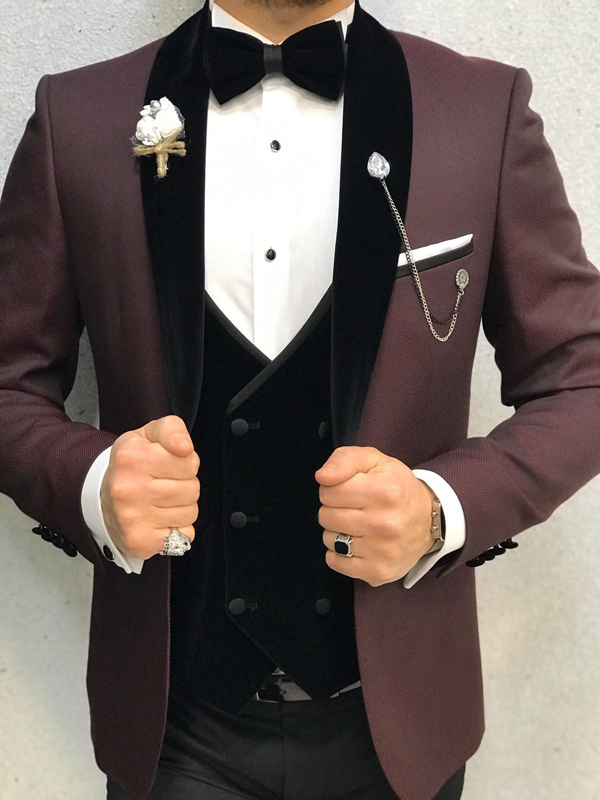 Burgundy Slim Fit Velvet Shawl Collar Tuxedo by GentWith.com with Free Worldwide Shipping