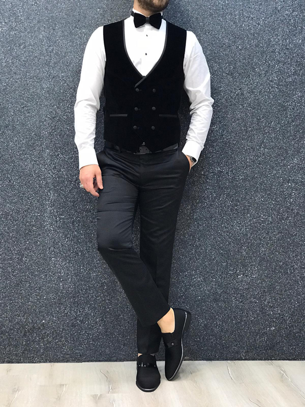 Gray Slim Fit Velvet Shawl Collar Tuxedo by GentWith.com with Free Worldwide Shipping