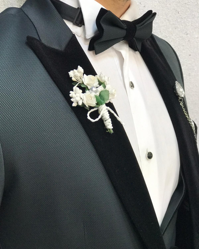 Green Velvet Peak Lapel Tuxedo by GentWith.com with Free Worldwide Shipping