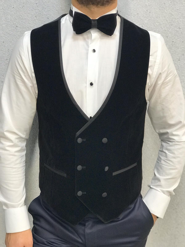 Navy Blue Slim Fit Velvet Shawl Collar Tuxedo by GentWith.com with Free Worldwide Shipping