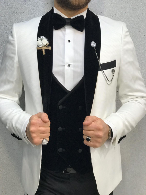 White Slim Fit Velvet Shawl Collar Tuxedo by GentWith.com with Free Worldwide Shipping