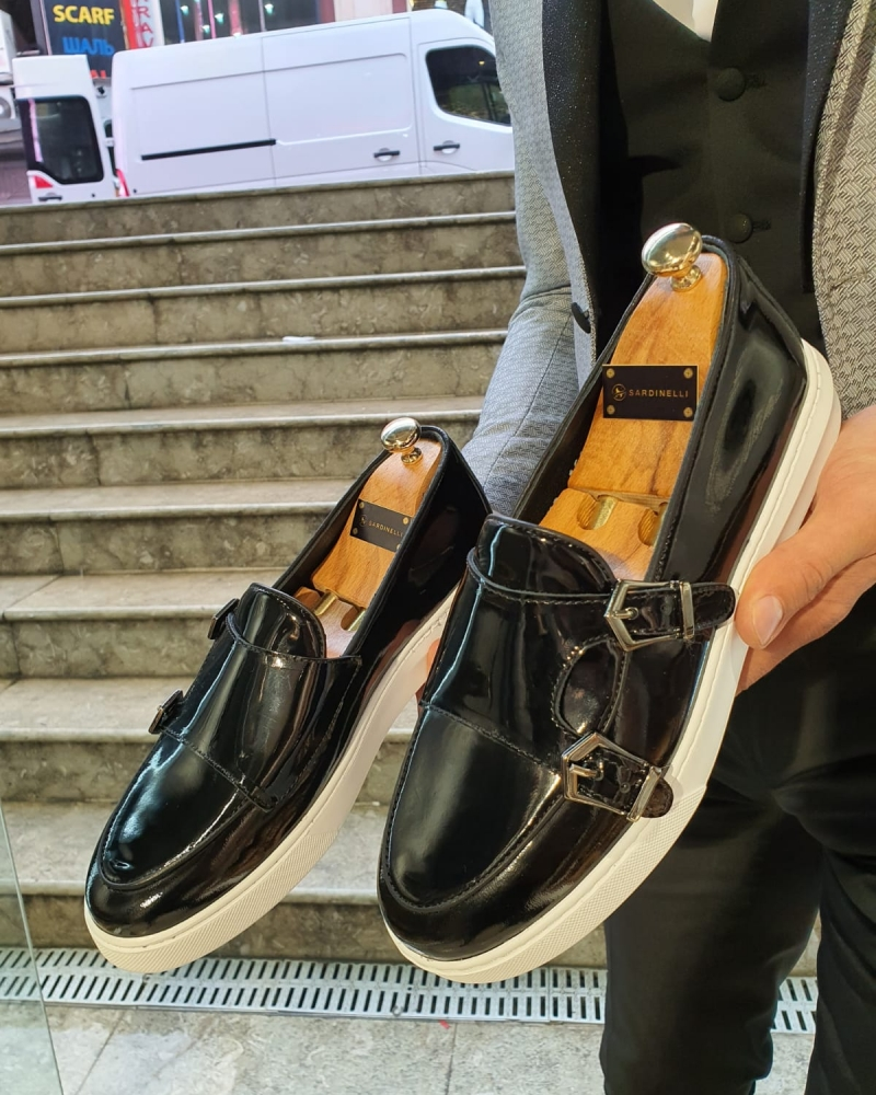 Black Double Monk Strap Espadrille Loafer by GentWith.com with Free Worldwide Shipping