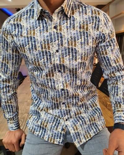 Blue Slim Fit Striped Cotton Shirt by GentWith.com with Free Worldwide Shipping