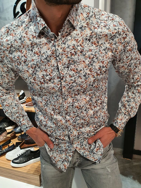 Gray Slim Fit Floral Cotton Shirt by GentWith.com with Free Worldwide Shipping