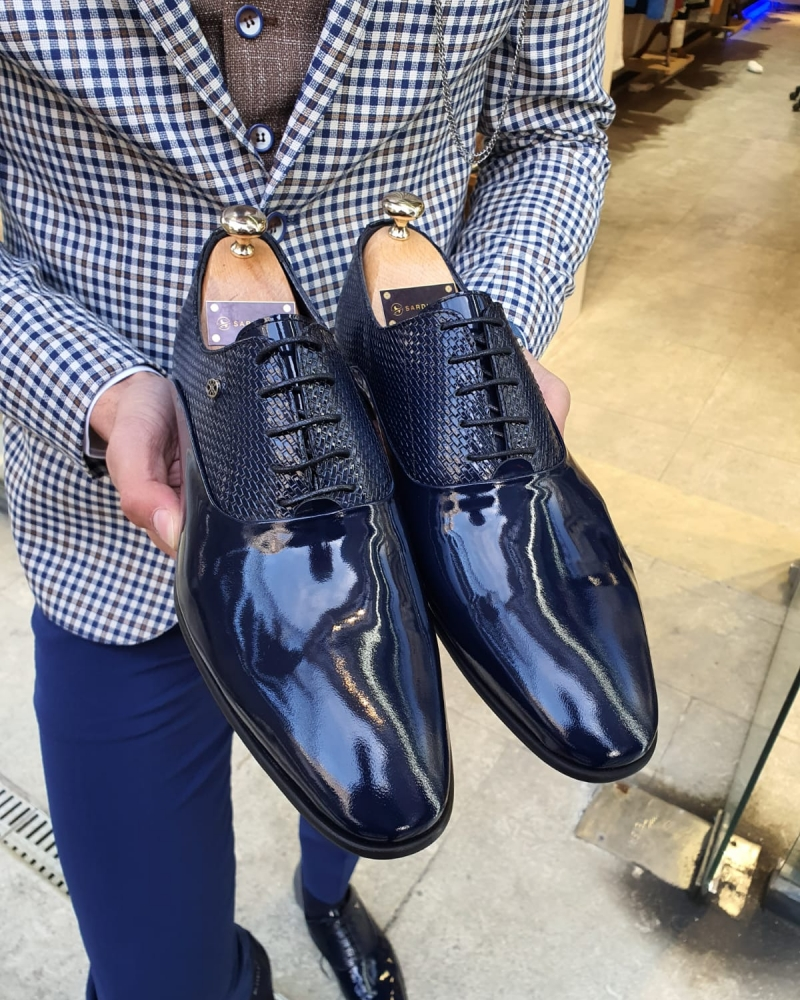 Navy Blue Laced Oxford by GentWith.com with Free Worldwide Shipping