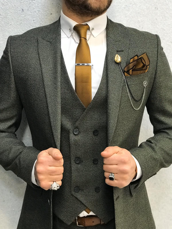 Green Slim Fit Wool Suit by GentWith.com with Free Worldwide Shipping