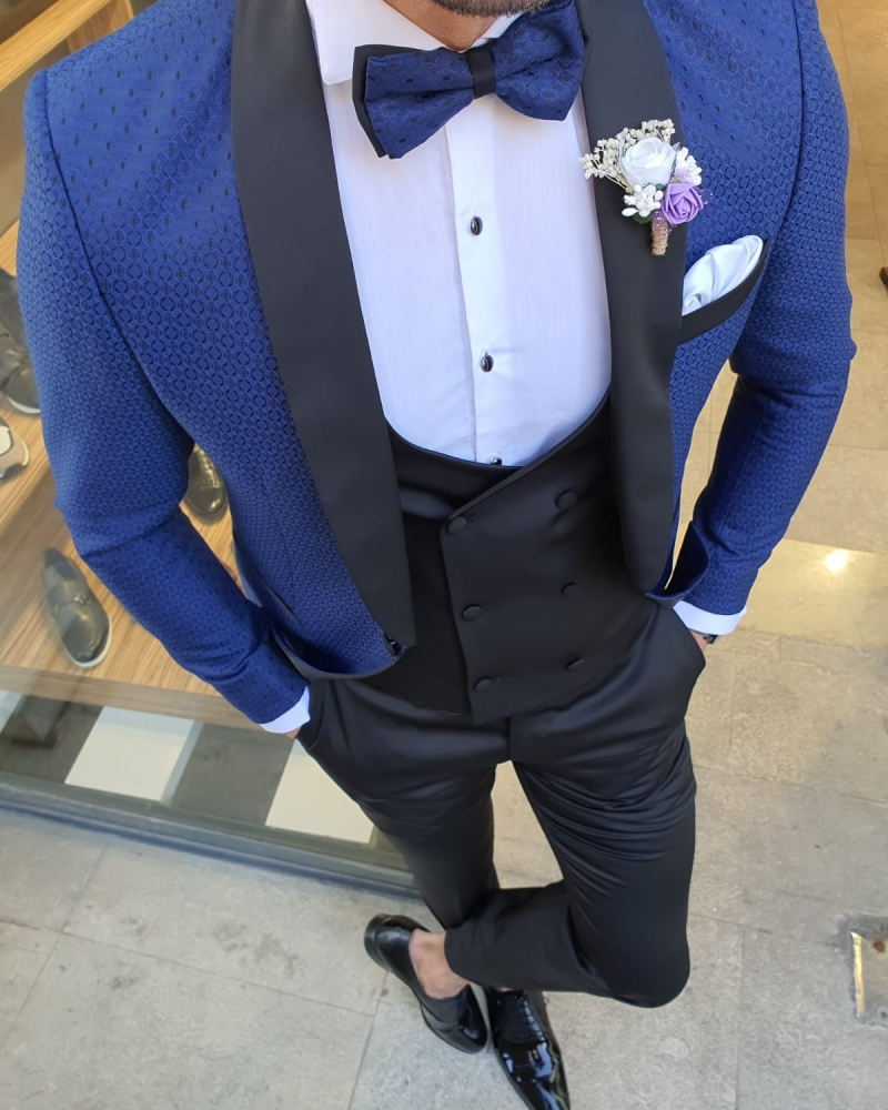 Indigo Slim Fit Shawl Lapel Tuxedo by GentWith.com with Free Worldwide Shipping