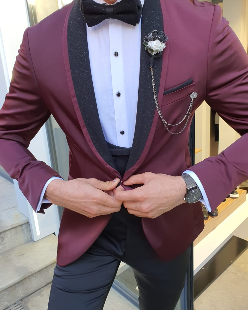 Burgundy Slim Fit Shawl Lapel Tuxedo by GentWith.com with Free Worldwide Shipping