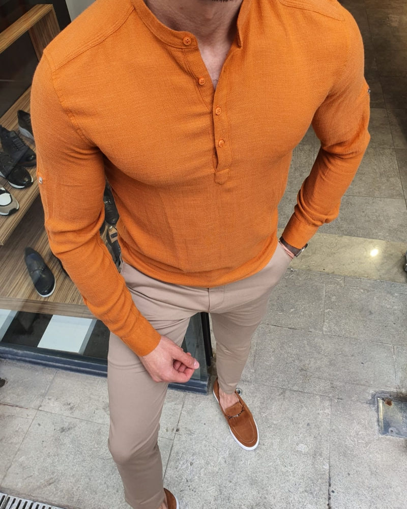 Orange Slim Fit Cotton Shirt by GentWith.com with Free Worldwide Shipping