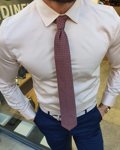 Beige Slim Fit Cotton Shirt by GentWith.com with Free Worldwide Shipping