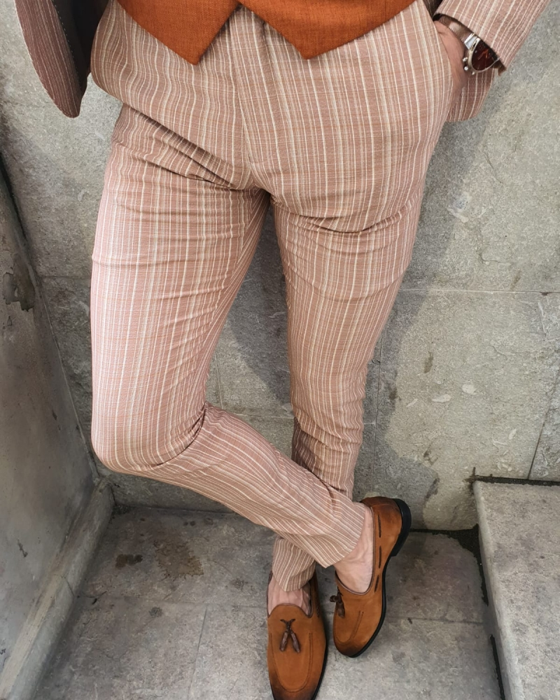 Beige Slim Fit Pinstripe Pants by GentWith.com with Free Worldwide Shipping