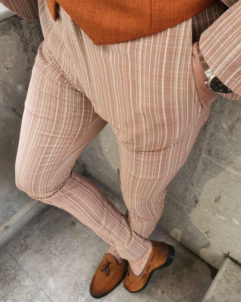 Beige Pinstripe Pants by GentWith.com with Free Worldwide Shipping