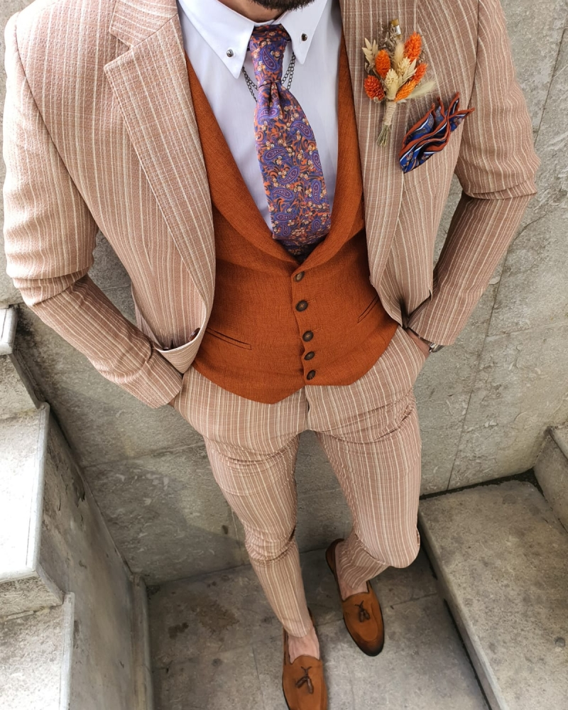 Beige Slim Fit Pinstripe Suit by GentWith.com with Free Worldwide Shipping