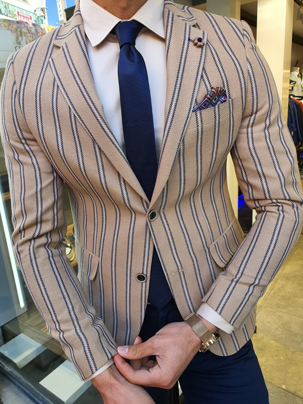 Beige Slim Fit Striped Blazer by GentWith.com with Free Worldwide Shipping