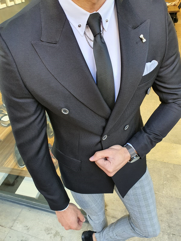 Black Slim Fit Double Breasted Blazer by GentWith.com with Free Worldwide Shipping