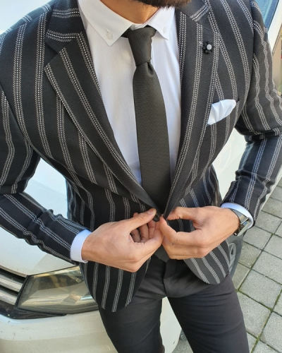 Black Slim Fit Striped Blazer by GentWith.com with Free Worldwide Shipping
