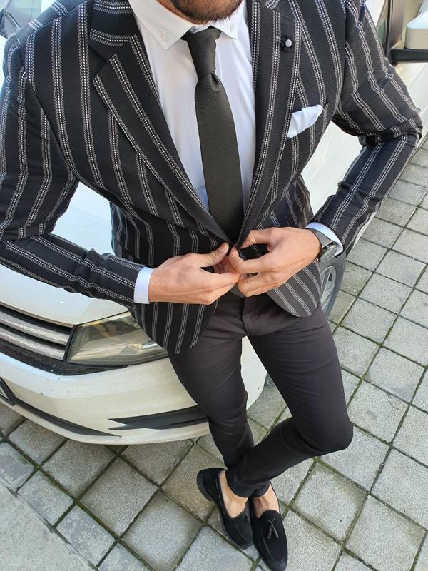 Black Slim Fit Striped Blazer by GentWith.com with Free Worldwide Shipping