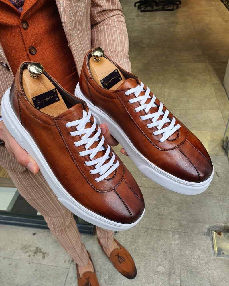 Brown Laced Sneakers by GentWith.com with Free Worldwide Shipping