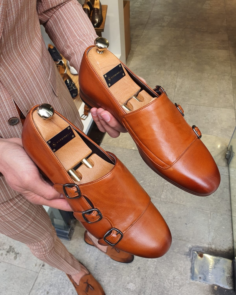Brown Slim Fit Triple Monk Strap Loafer by GentWith.com with Free Worldwide Shipping