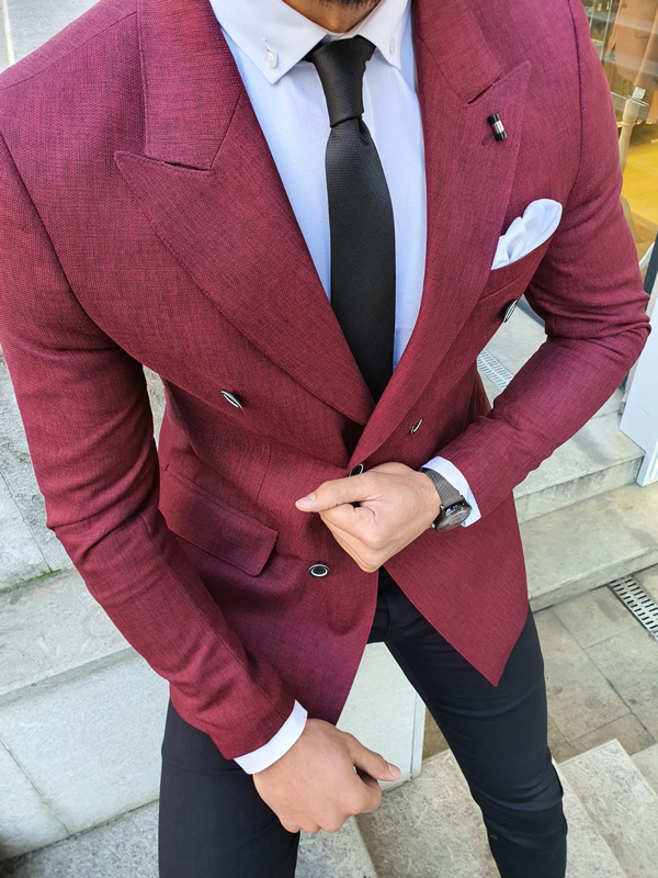 Red Slim Fit Double Breasted Blazer by GentWith.com with Free Worldwide Shipping