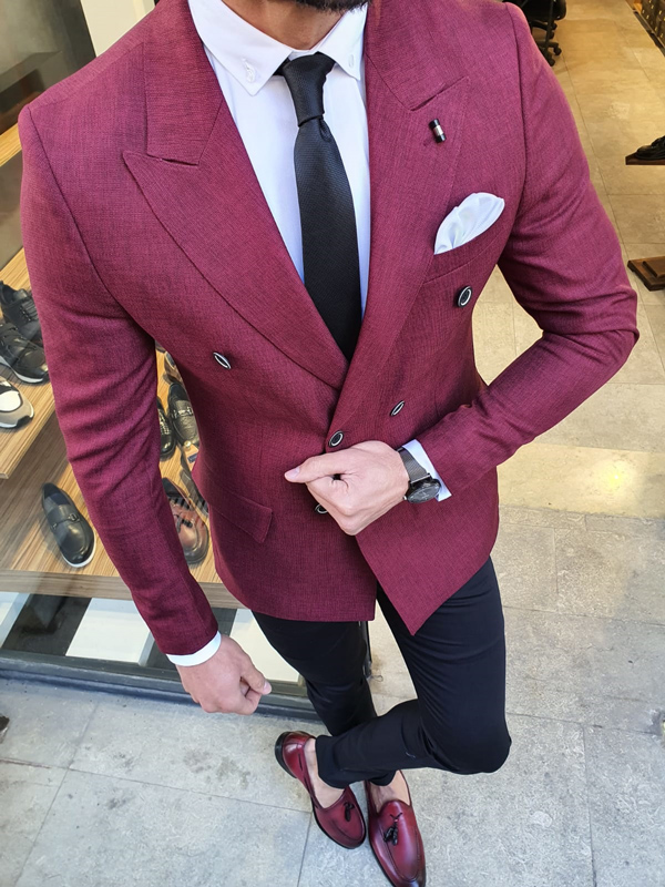 Burgundy Slim Fit Double Breasted Blazer by GentWith.com with Free Worldwide Shipping