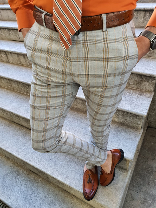 Camel Slim Fit Plaid Pants by GentWith.com with Free Worldwide Shipping