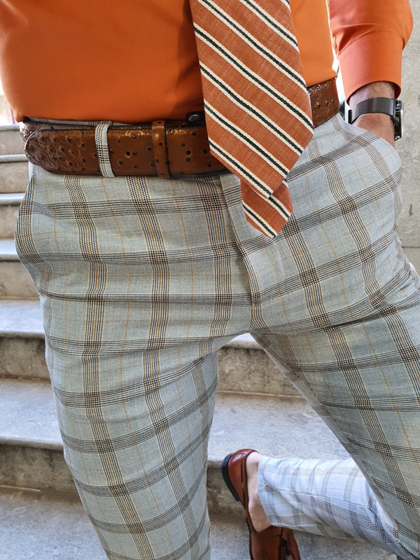 Camel Plaid Pants by GentWith.com with Free Worldwide Shipping