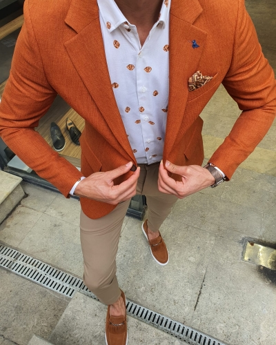 Cinnamon Slim Fit Blazer by GentWith.com with Free Worldwide Shipping